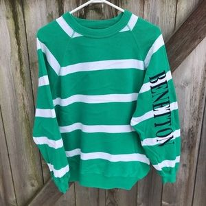 United Colors Of Benetton Striped Sleeve Spell Out